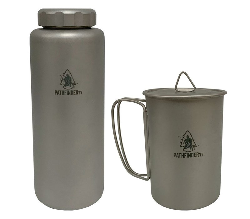 Pathfinder Titanium Water Bottle and Nesting Cup Set