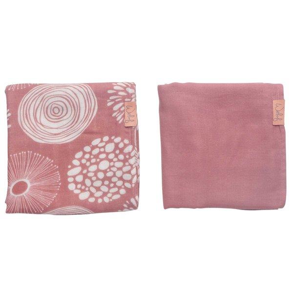 Witlof for kids Hydrofiele doek 80x80 Sparkle Rose 2-pack