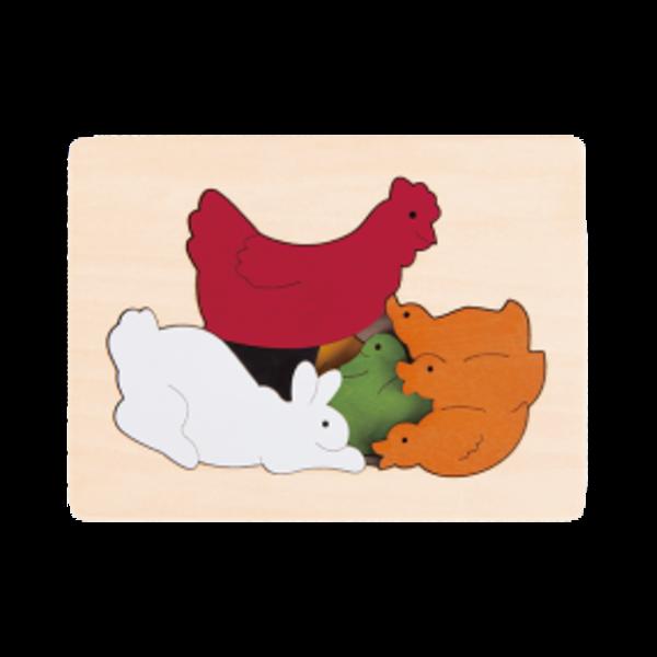 Hape Houten Puzzel Kip & Dierenvriendjes