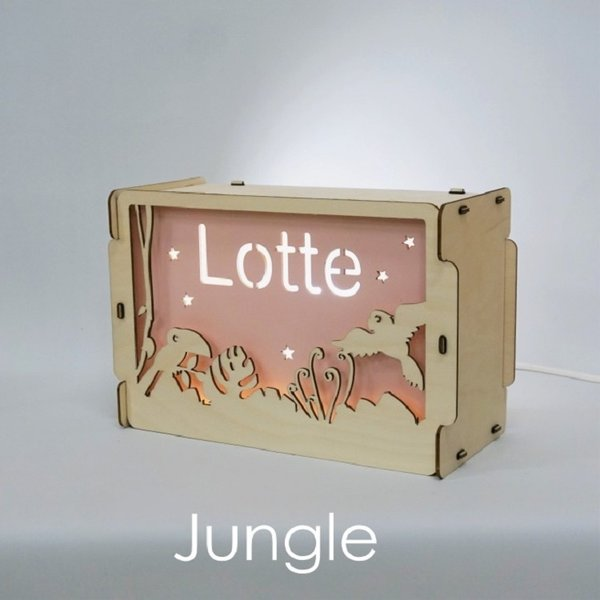 Houtlokael Nachtlampje met naam: Jungle