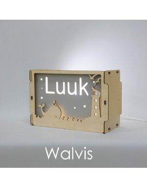 Houtlokael Nachtlampje met naam: Walvis