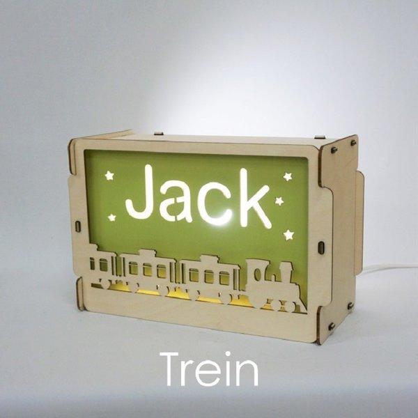 Houtlokael Nachtlampje met naam: Trein