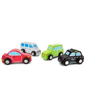 New Classic Toys Set van 4 Houten auto's