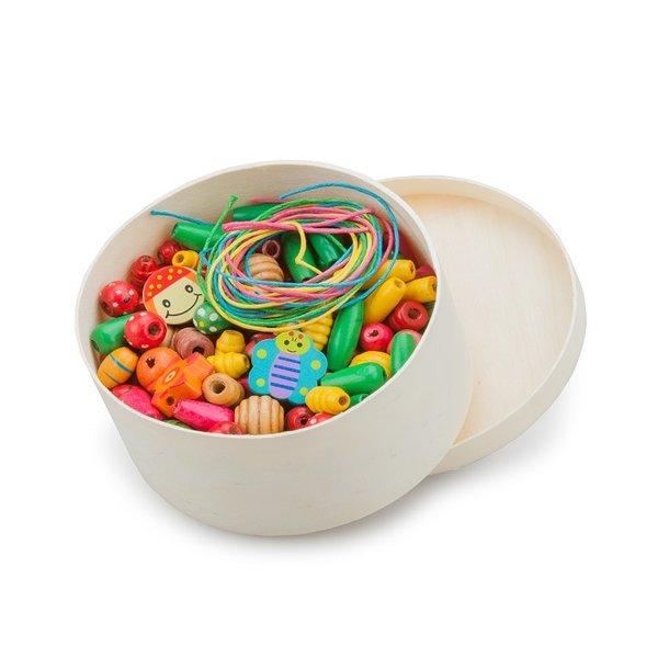 New Classic Toys 100gram Houten kralen in een doosje