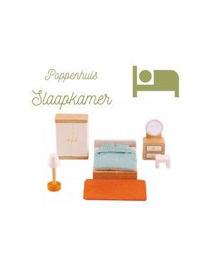 Hape Poppenhuis slaapkamer