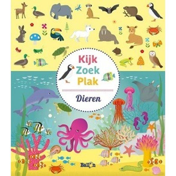 Stickerboek Kijk, zoek, plak Dieren. 4+