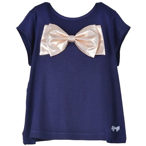 Hucklebones London Bow T-Shirt Supersoft Jersey Navy Gold (Top)-1