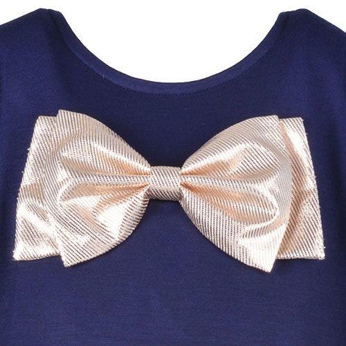 Hucklebones London Bow T-Shirt Supersoft Jersey Navy Gold (Top)-3