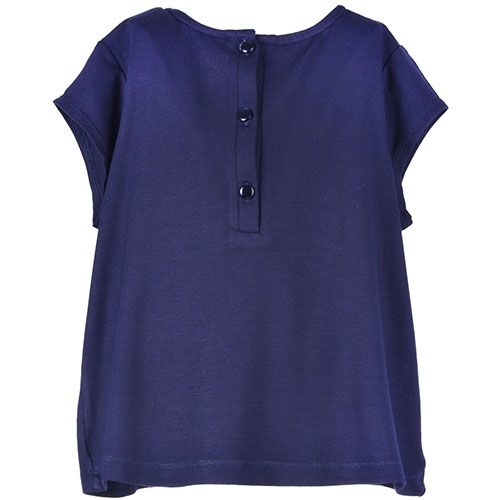 Hucklebones London Bow T-Shirt Supersoft Jersey Navy Gold (Top)-4