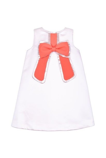 Hucklebones London Gilded Bow Shift Dress Dutchess Satin Strawberry (Jurk)