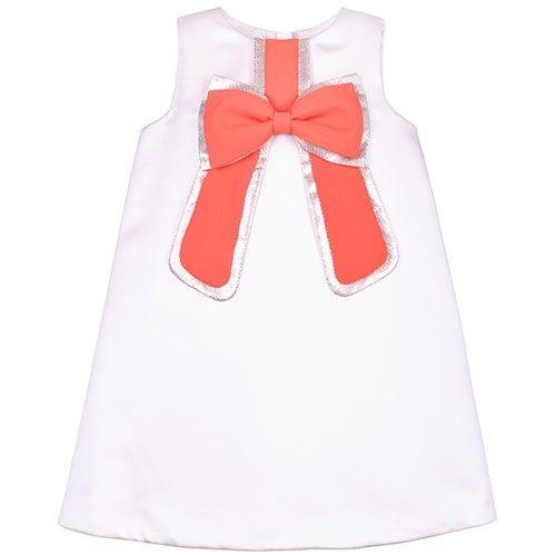 Hucklebones London Gilded Bow Shift Dress Dutchess Satin Strawberry (Jurk)-1