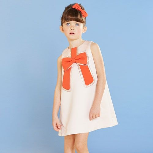 Hucklebones London Gilded Bow Shift Dress Dutchess Satin Strawberry (Jurk)-2