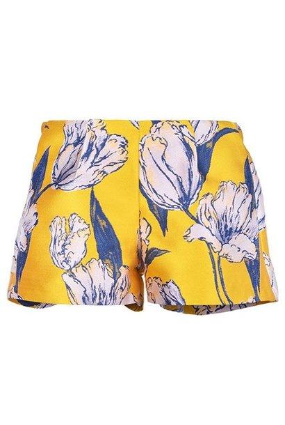 Hucklebones London Tulip Jacquard Shorts Marigold Navy (Korte Broek)