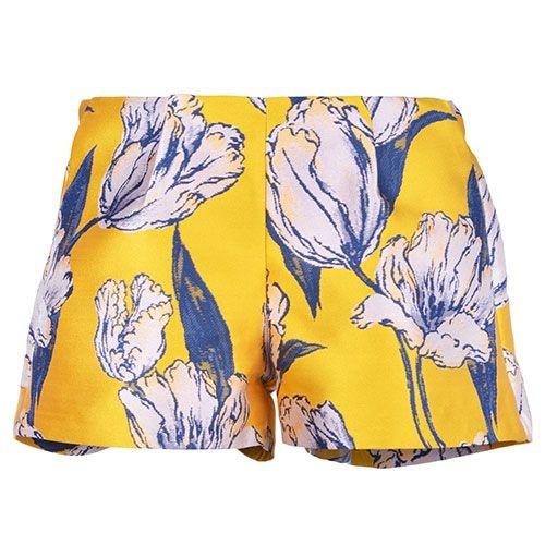 Hucklebones London Tulip Jacquard Shorts Marigold Navy (Korte Broek)-1