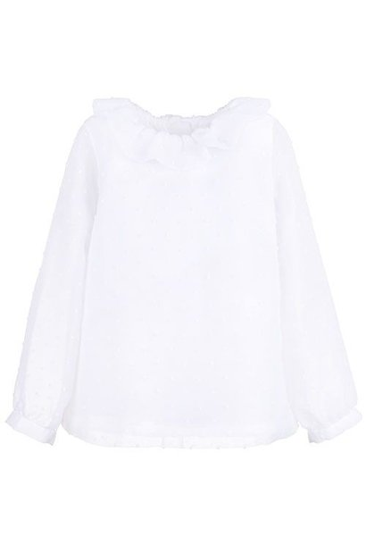 Hucklebones Ruffle Neck Blouse Porcelain
