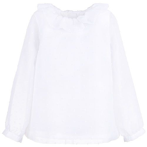 Hucklebones Ruffle Neck Blouse Porcelain-1