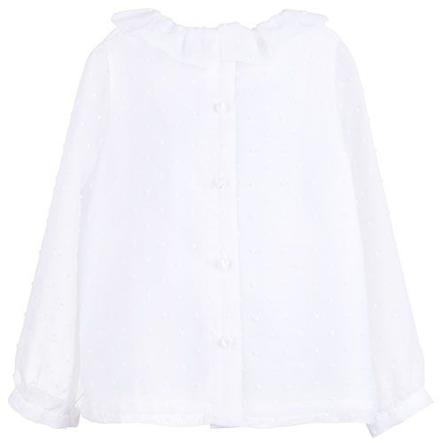 Hucklebones Ruffle Neck Blouse Porcelain-3