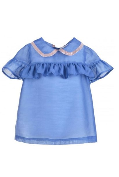 Hucklebones Cornflower Blue Ruffle Blouse