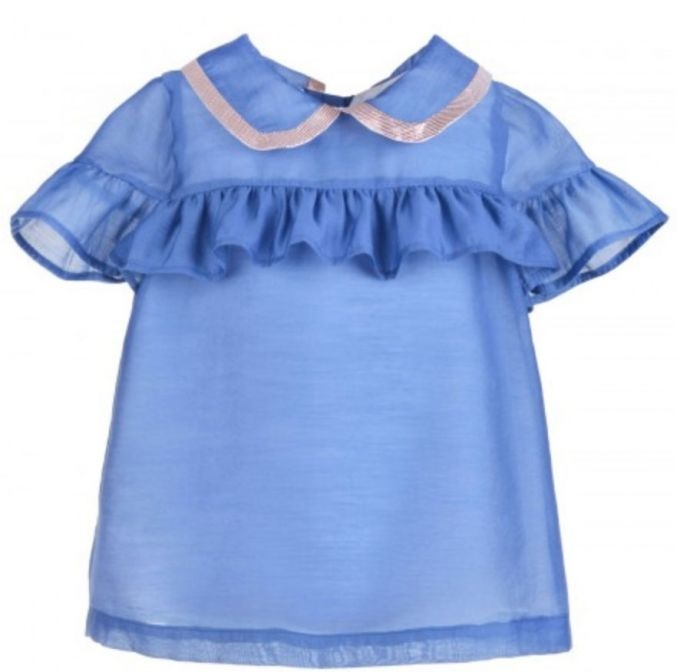 Hucklebones Cornflower Blue Ruffle Blouse-1