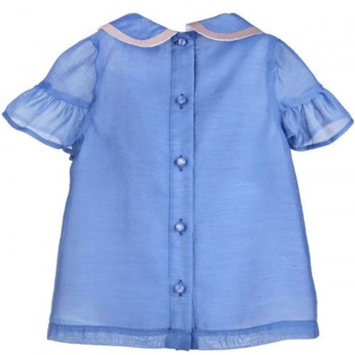 Hucklebones Cornflower Blue Ruffle Blouse-3