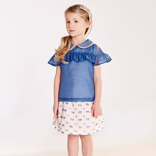 Hucklebones Cornflower Blue Ruffle Blouse-2