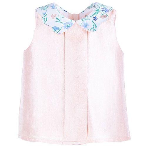 Hucklebones Scalloped Collar Blush Blouse-1