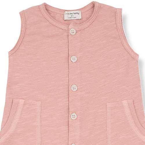 1+ in the family Troia Romber Slub Cotton Jersey rose (Romper)-2