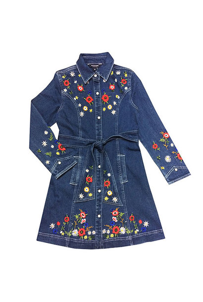 Blu & Blue New York Rachel Embroidery Denim Dress (Jurk)