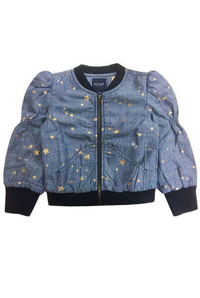 Blu & Blue New York Sitara Gold Star Bomber Jacket (Jas)