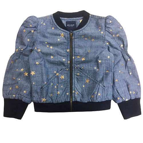 Blu & Blue New York Sitara Gold Star Bomber Jacket (Jas)-1