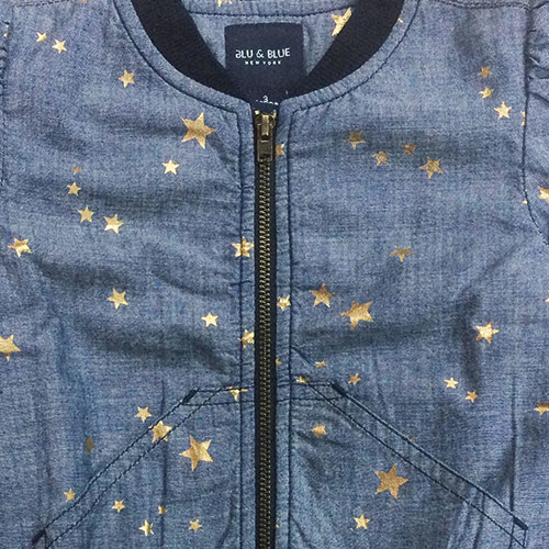 Blu & Blue New York Sitara Gold Star Bomber Jacket (Jas)-3