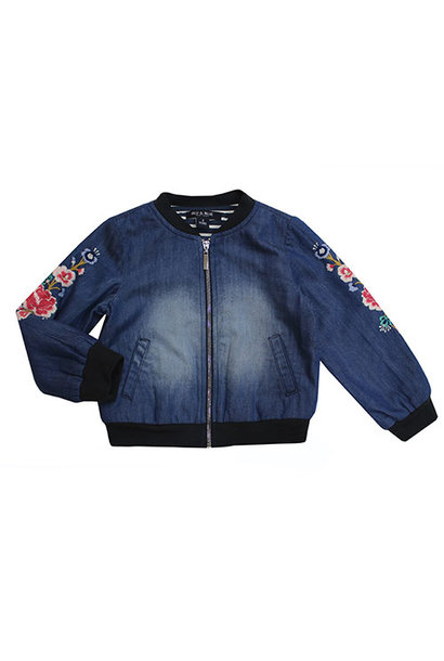 Blu & Blue New York Embroidery Denim Bomber Jacket (Jas)