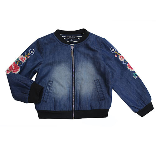 Blu & Blue New York Embroidery Denim Bomber Jacket (Jas)-1
