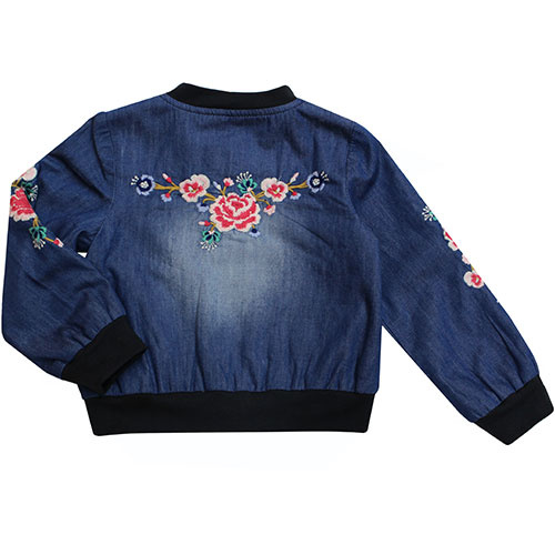 Blu & Blue New York Embroidery Denim Bomber Jacket (Jas)-2