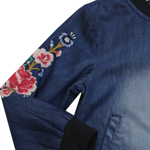 Blu & Blue New York Embroidery Denim Bomber Jacket (Jas)-4
