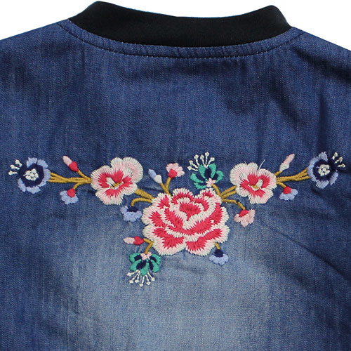 Blu & Blue New York Embroidery Denim Bomber Jacket (Jas)-5