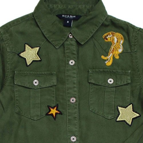 Blu & Blue New York Aiden Shirt Military Green (Blouse)-6
