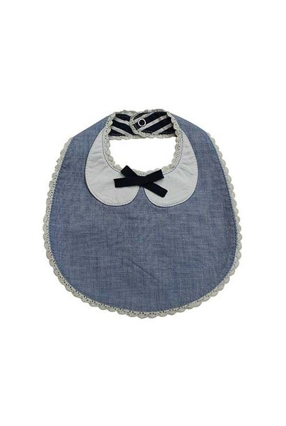 Blu & Blue New York Peter Pan Collar Bib with Bow (Slab)