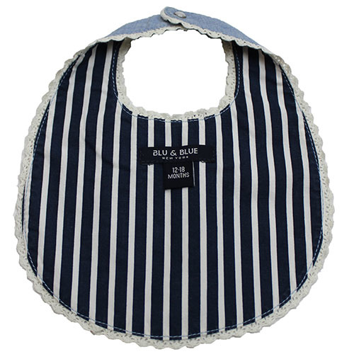 Blu & Blue New York Peter Pan Collar Bib with Bow (Slab)-3