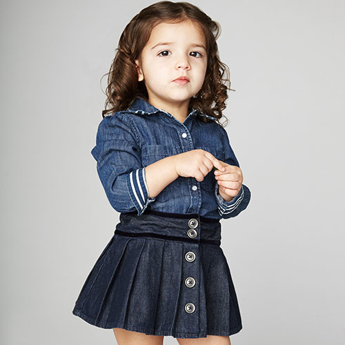 Blu & Blue New York Caitlyn Pleated Denim Skirt (Rok)-2
