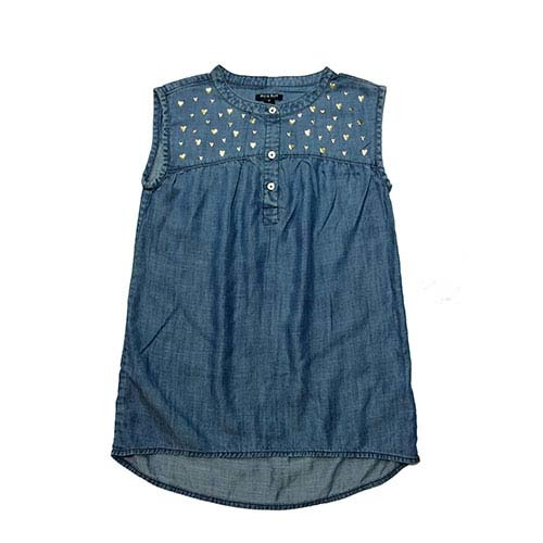 Blu & Blue New York Gold Heart Denim Top (Shirt)-1