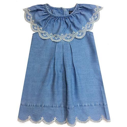 Blu & Blue New York Nina Ruffle Denim Dress (Jurk)-1