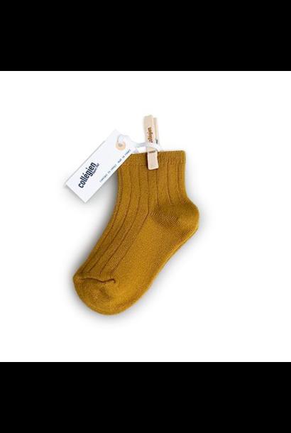 Collegien Chaussettes courtes 'Moutarde de Dijon' (sokken) mosterd geel