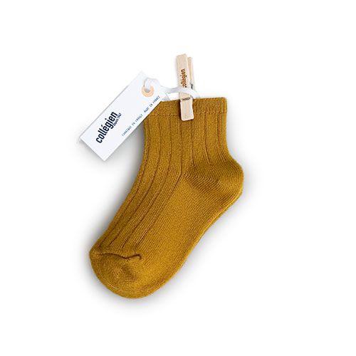 Collegien Chaussettes courtes 'Moutarde de Dijon' (sokken) mosterd geel-1