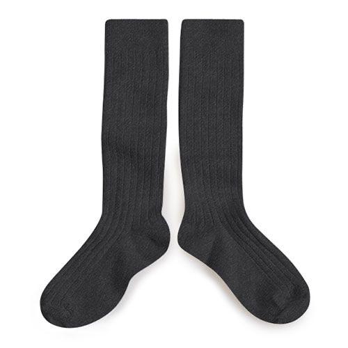 Collegien Chaussettes hautes 'Poivre' (kniekousen) donker grijs-2