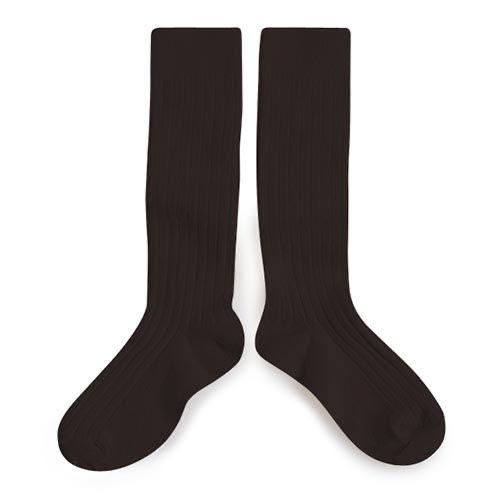 Collegien Chaussettes hautes 'Grain de Café' (kniekousen) donker bruin-1