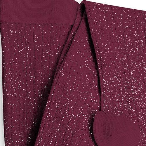 Collegien Collants Amélie a côtes brillants 'Marsala' paars glitter (Maillot)-3