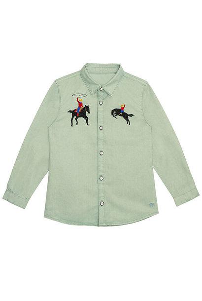 Wild & Gorgeous Bucking Broncho Shirt Slate (blouse)