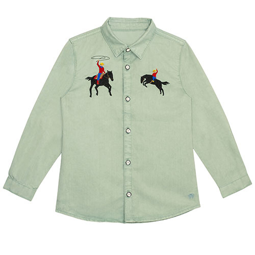 Wild & Gorgeous Bucking Broncho Shirt Slate (blouse)-1