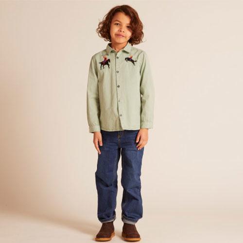 Wild & Gorgeous Bucking Broncho Shirt Slate (blouse)-4